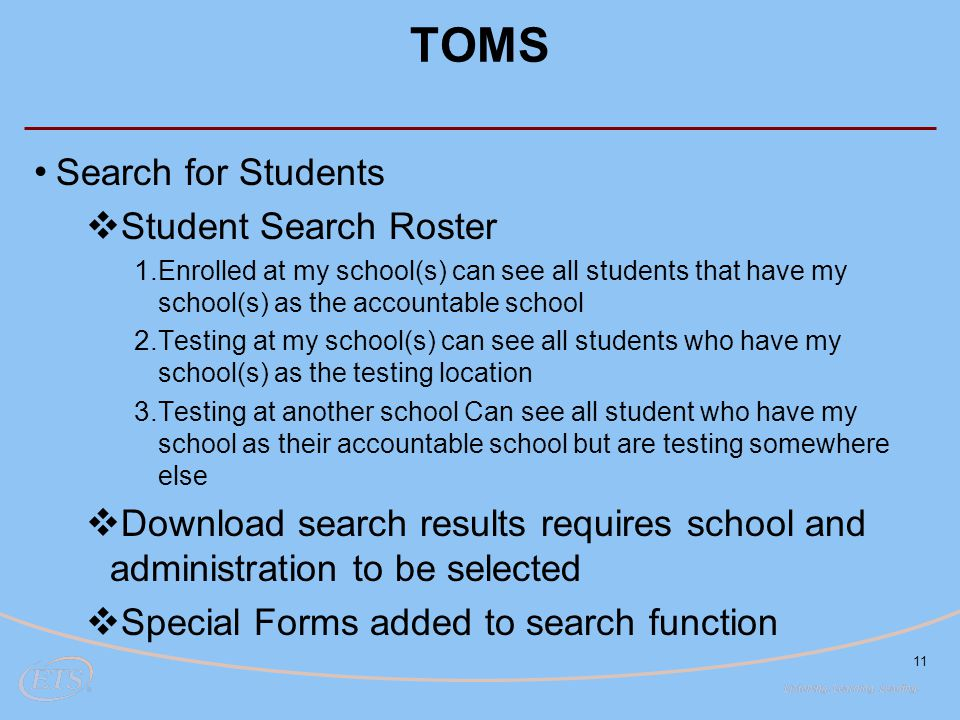 TOMS Search for Students Student Search Roster