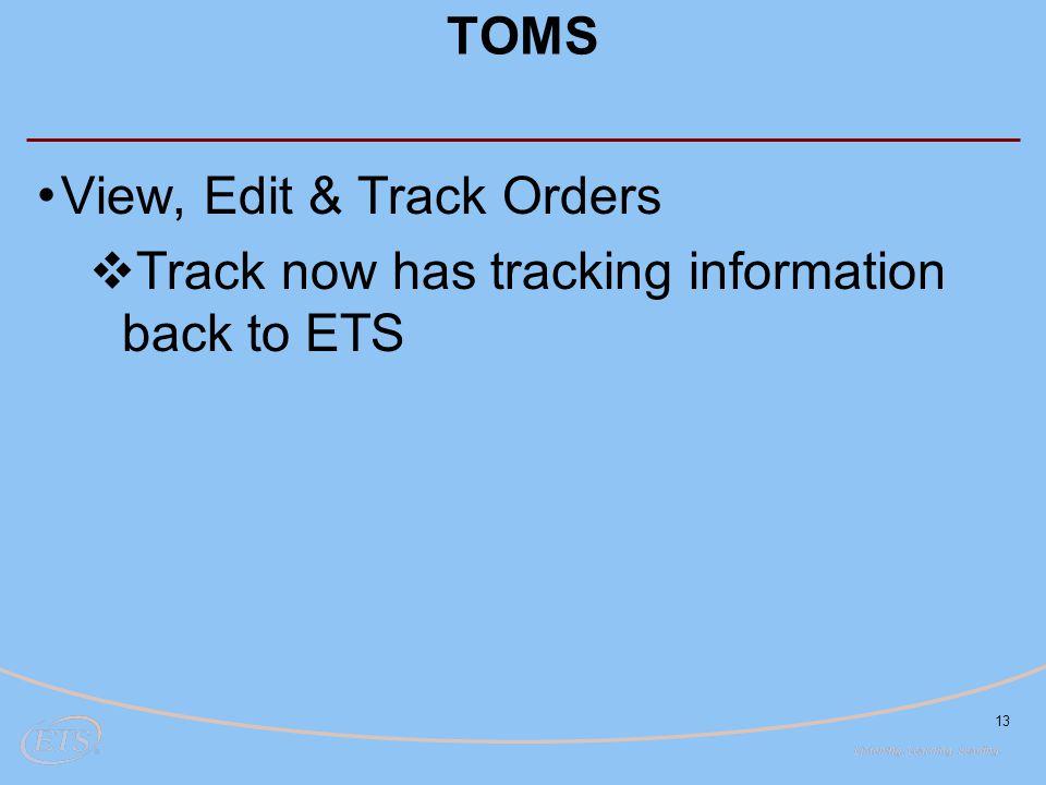 View, Edit & Track Orders