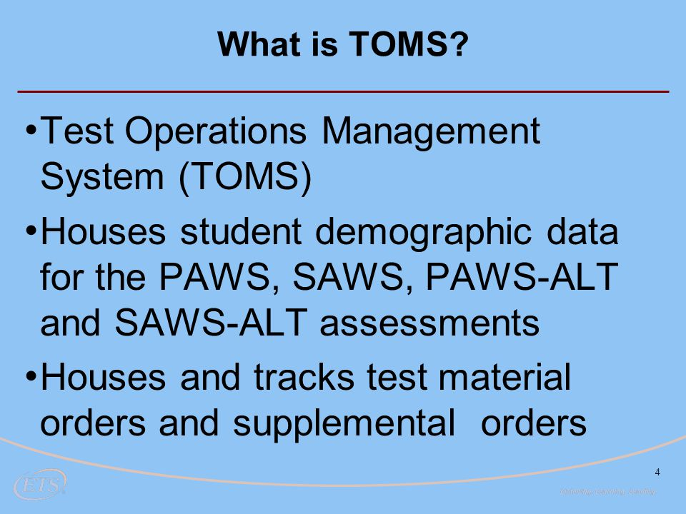 Test Operations Management System (TOMS)