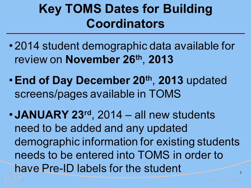 Key TOMS Dates for Building Coordinators