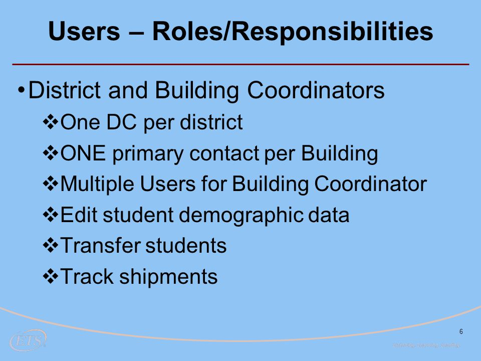 Users – Roles/Responsibilities