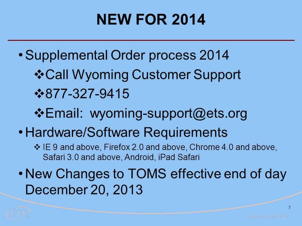 NEW FOR 2014 Supplemental Order process 2014