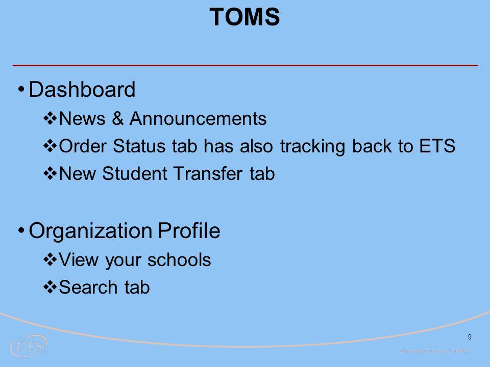 TOMS Dashboard Organization Profile