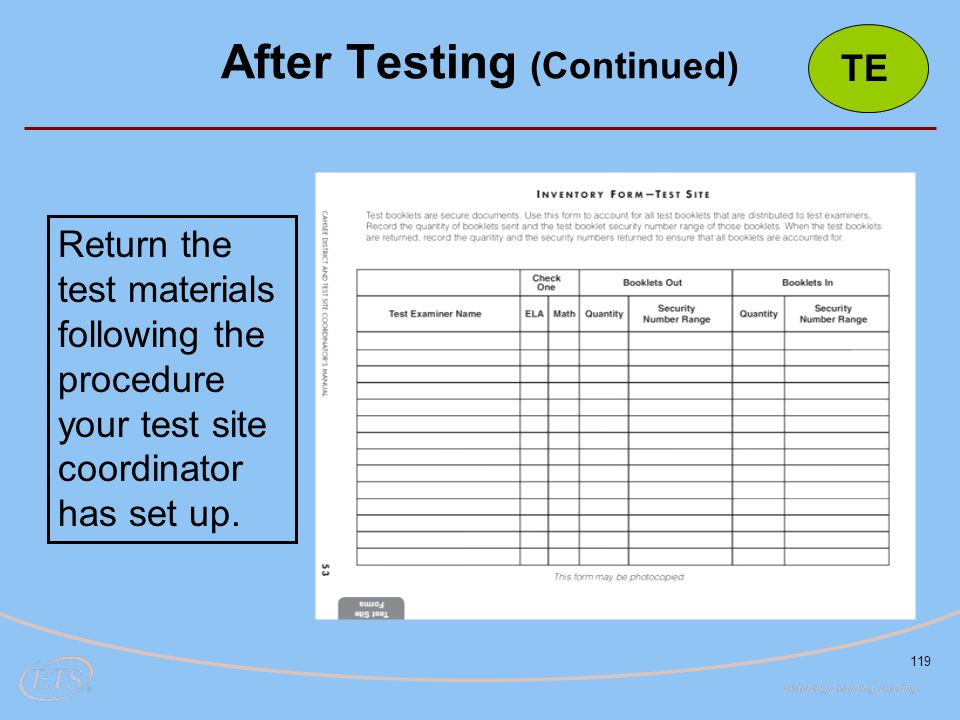 After Testing (Continued)