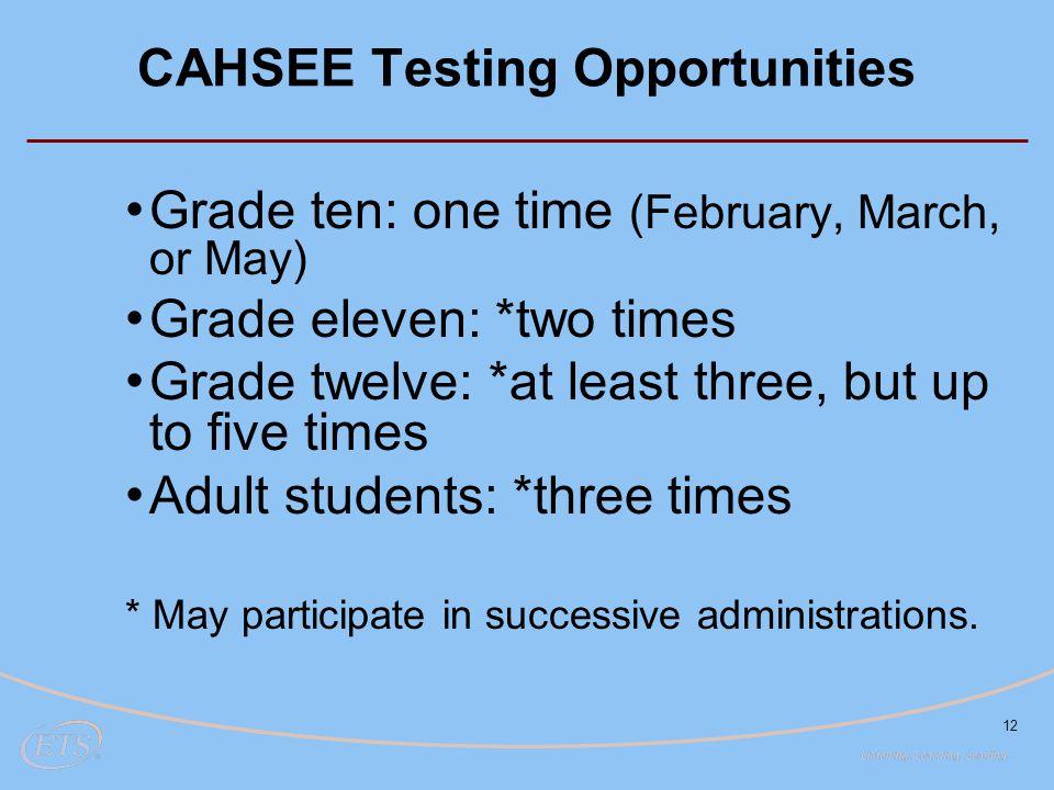 CAHSEE Testing Opportunities