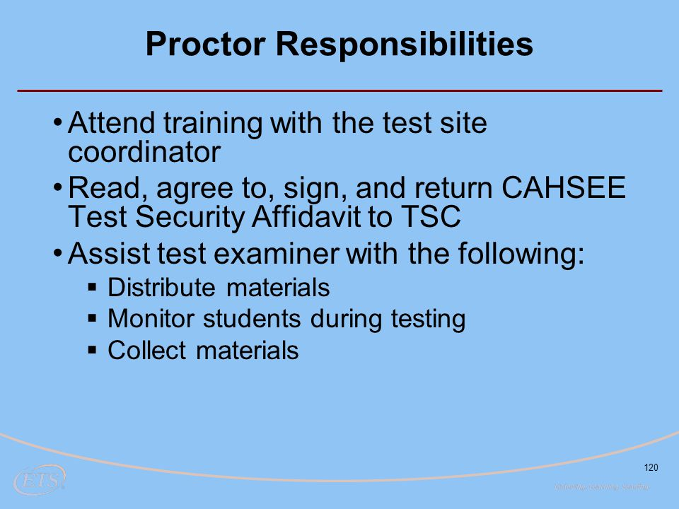 Proctor Responsibilities