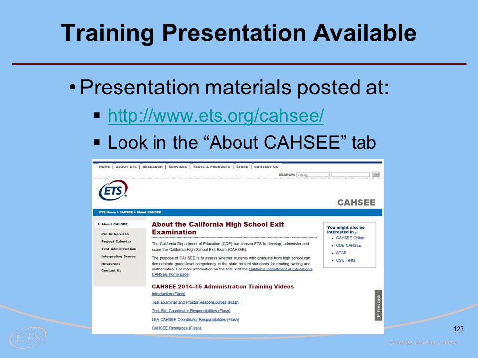Training Presentation Available