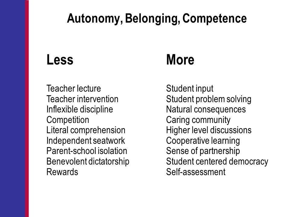 Autonomy, Belonging, Competence