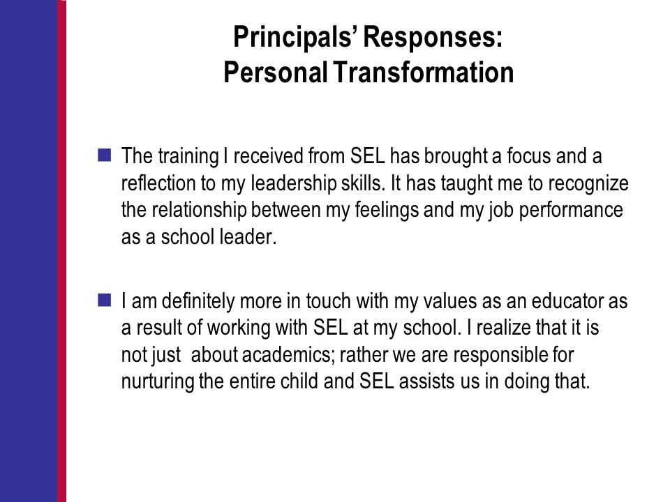 Principals' Responses: Personal Transformation