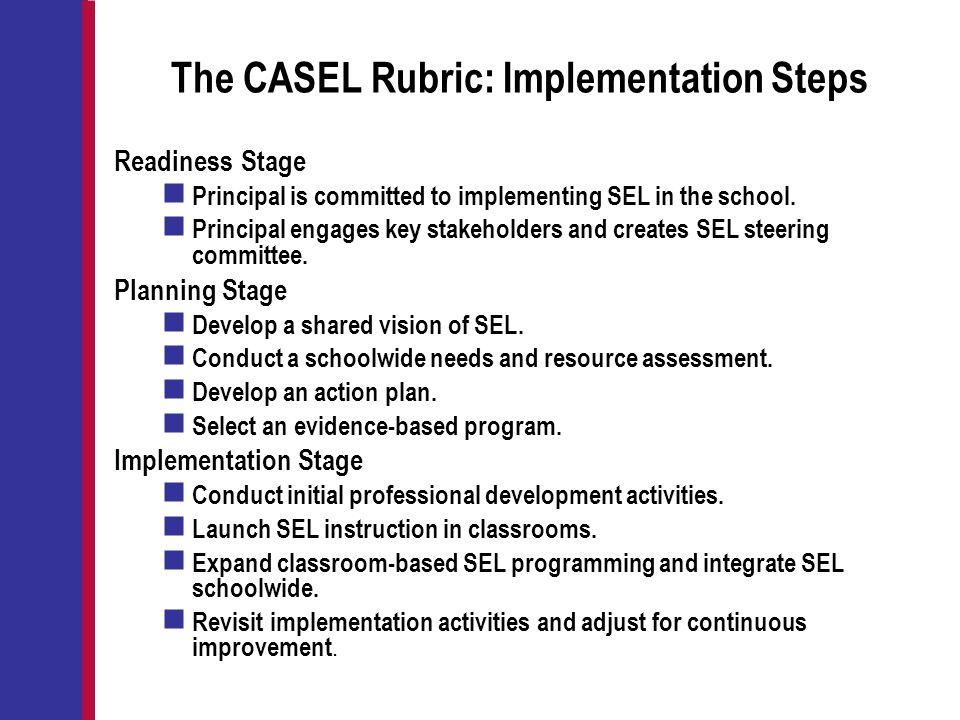 The CASEL Rubric: Implementation Steps