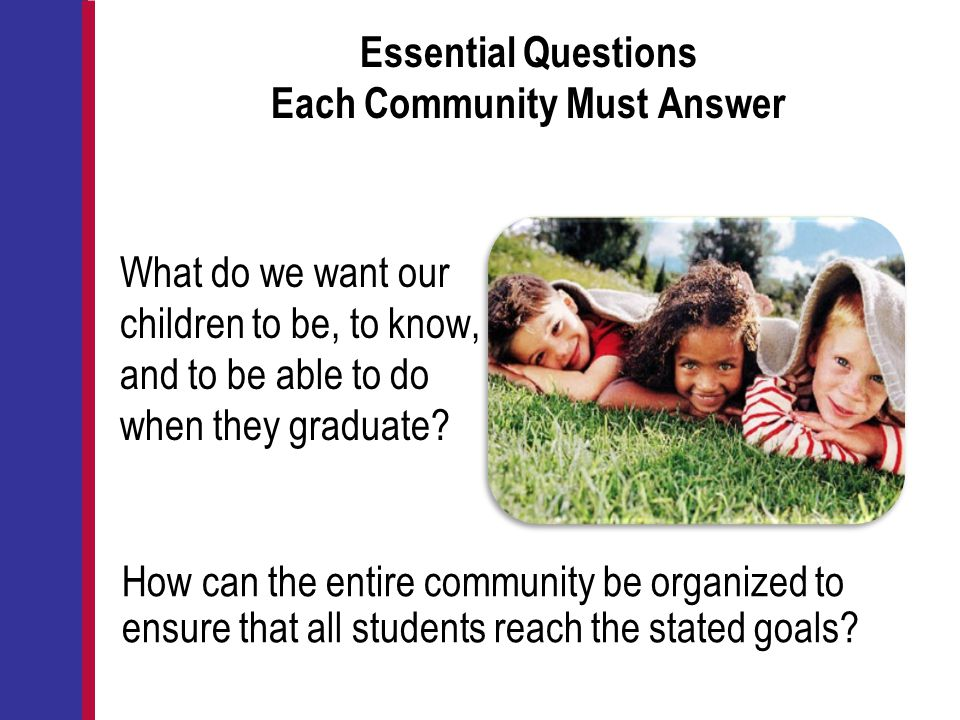 Essential Questions Each Community Must Answer