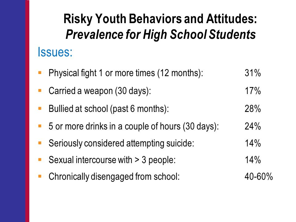Risky Youth Behaviors and Attitudes: Prevalence for High School Students