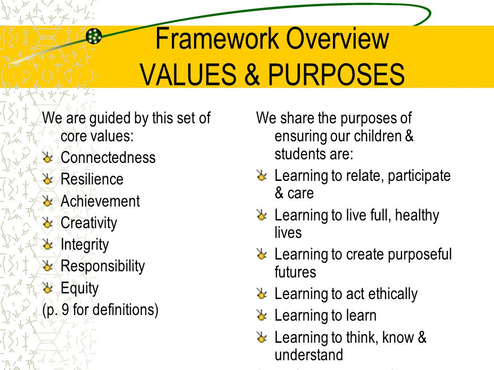 Framework Overview VALUES & PURPOSES