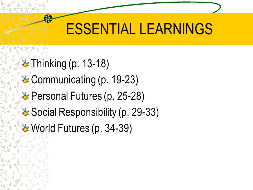 ESSENTIAL LEARNINGS Thinking (p. 13-18) Communicating (p. 19-23)