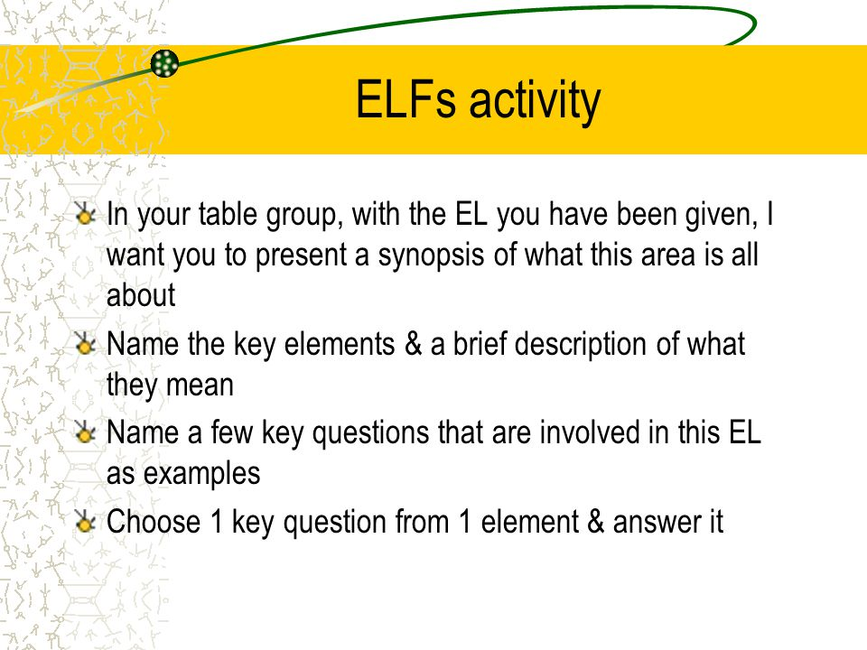 ELFs activity In your table group, with the EL you have been given, I want you to present a synopsis of what this area is all about.