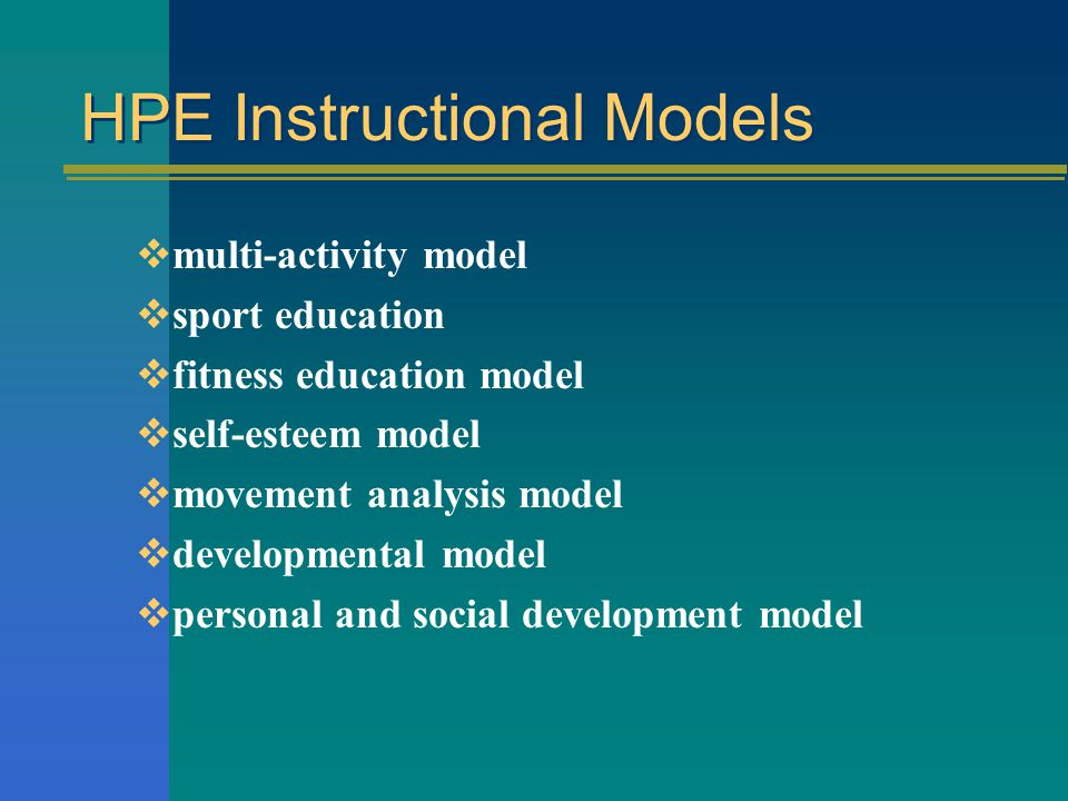 HPE Instructional Models
