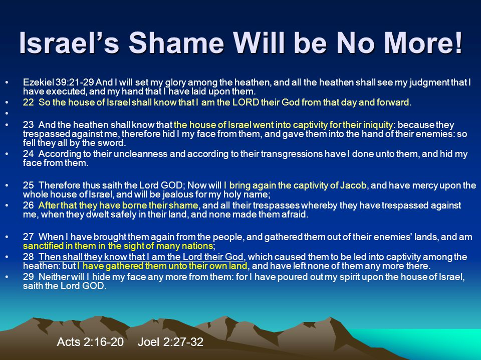 Israel's Shame Will be No More!