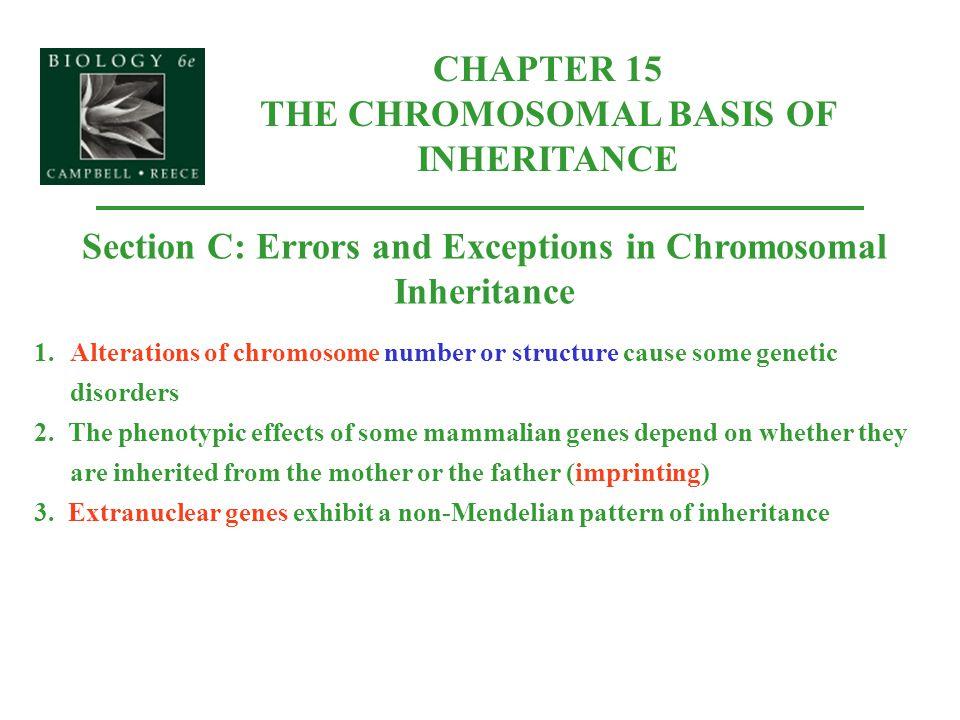 CHAPTER 15 THE CHROMOSOMAL BASIS OF INHERITANCE
