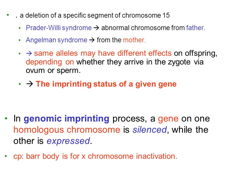 . a deletion of a specific segment of chromosome 15