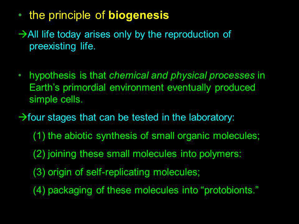 the principle of biogenesis