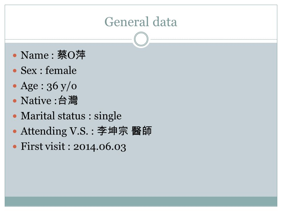 General data Name : 蔡O萍 Sex : female Age : 36 y/o Native :台灣