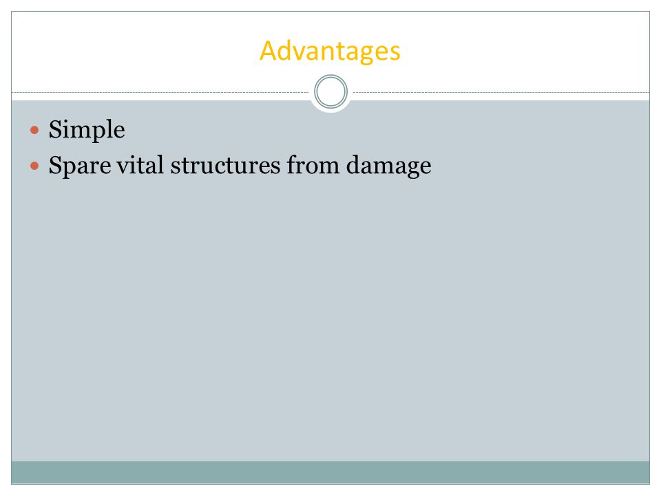 Advantages Simple Spare vital structures from damage 優點: 1.術式簡單