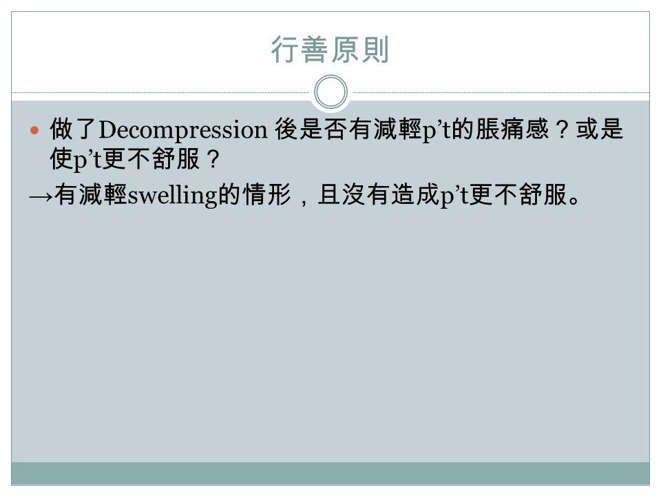 行善原則 做了Decompression 後是否有減輕p't的脹痛感?或是使p't更不舒服?