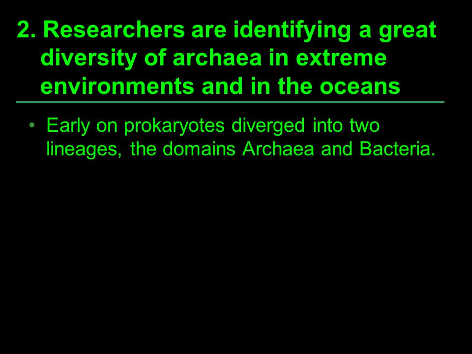 2. Researchers are identifying a great diversity of archaea in extreme environments and in the oceans