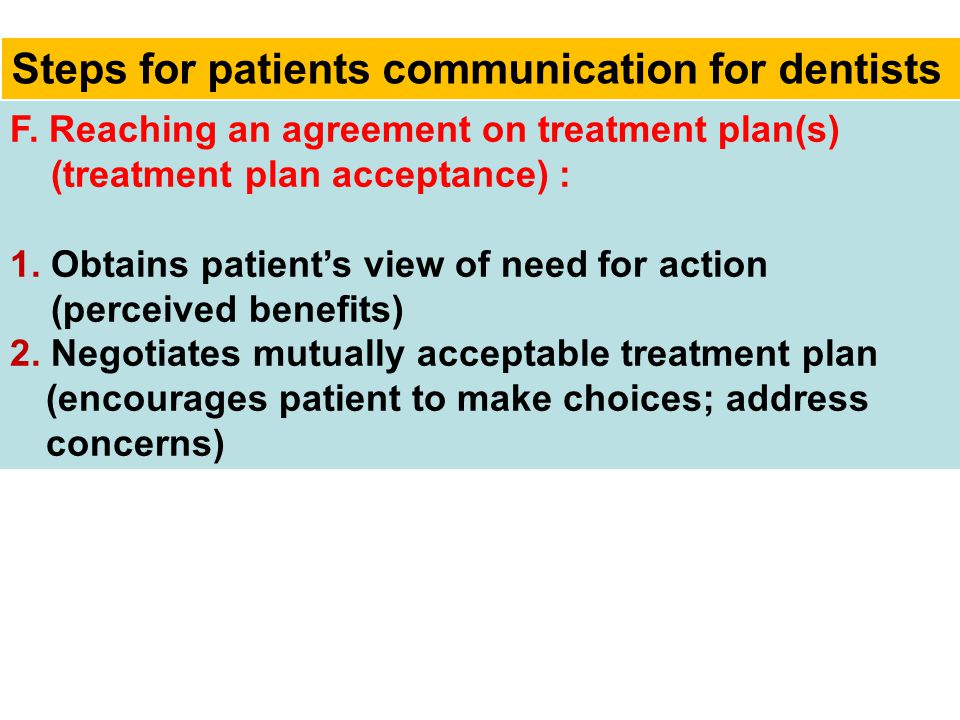 Steps for patients communication for dentists