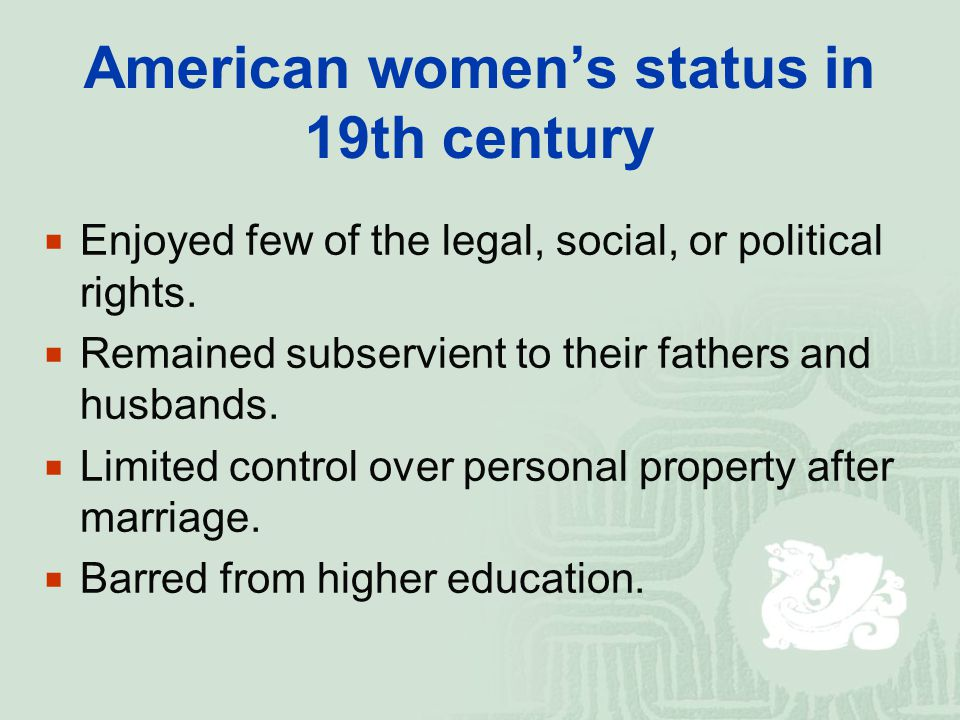 American women's status in 19th century