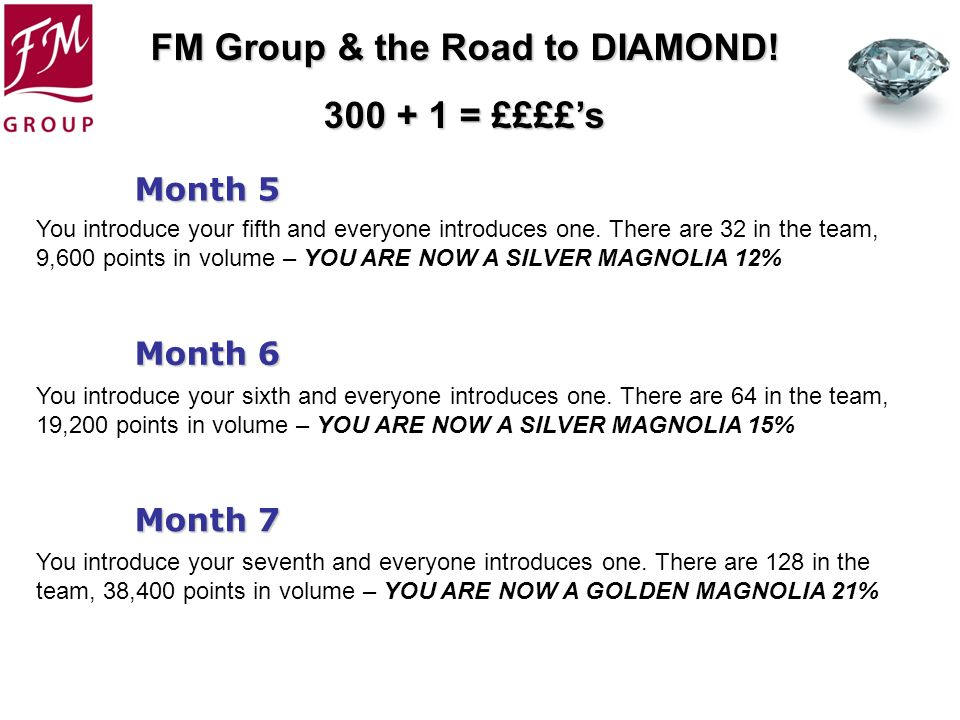 Month 5 You introduce your fifth and everyone introduces one. There are 32 in the team, 9,600 points in volume – YOU ARE NOW A SILVER MAGNOLIA 12%