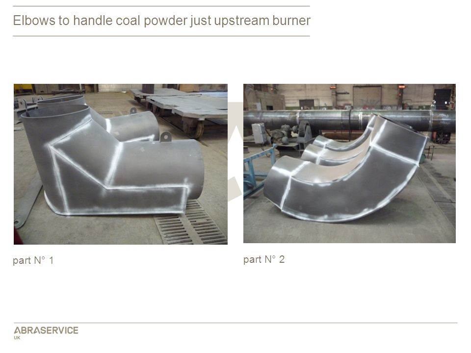 Elbows to handle coal powder just upstream burner