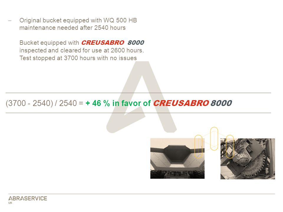 (3700 - 2540) / 2540 = + 46 % in favor of CREUSABRO 8000