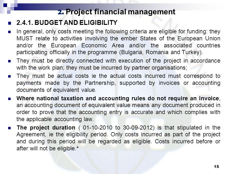 2. Project financial management