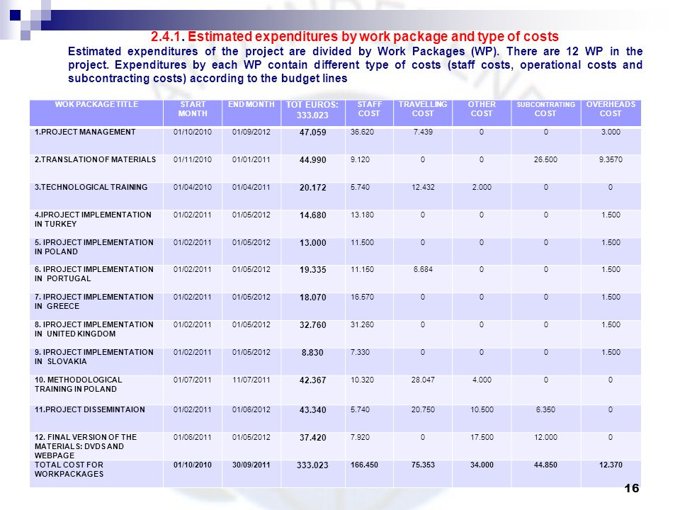 2.4.1. Estimated expenditures by work package and type of costs