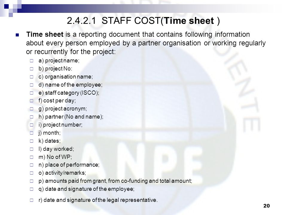 2.4.2.1 STAFF COST(Time sheet )