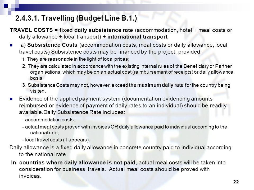2.4.3.1. Travelling (Budget Line B.1.)