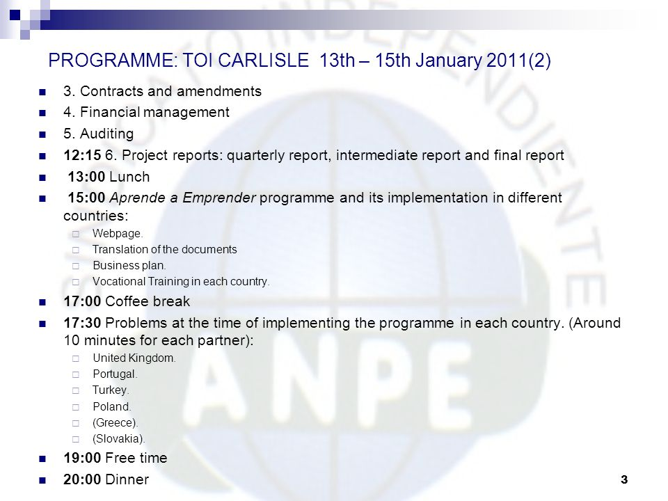 PROGRAMME: TOI CARLISLE 13th – 15th January 2011(2)