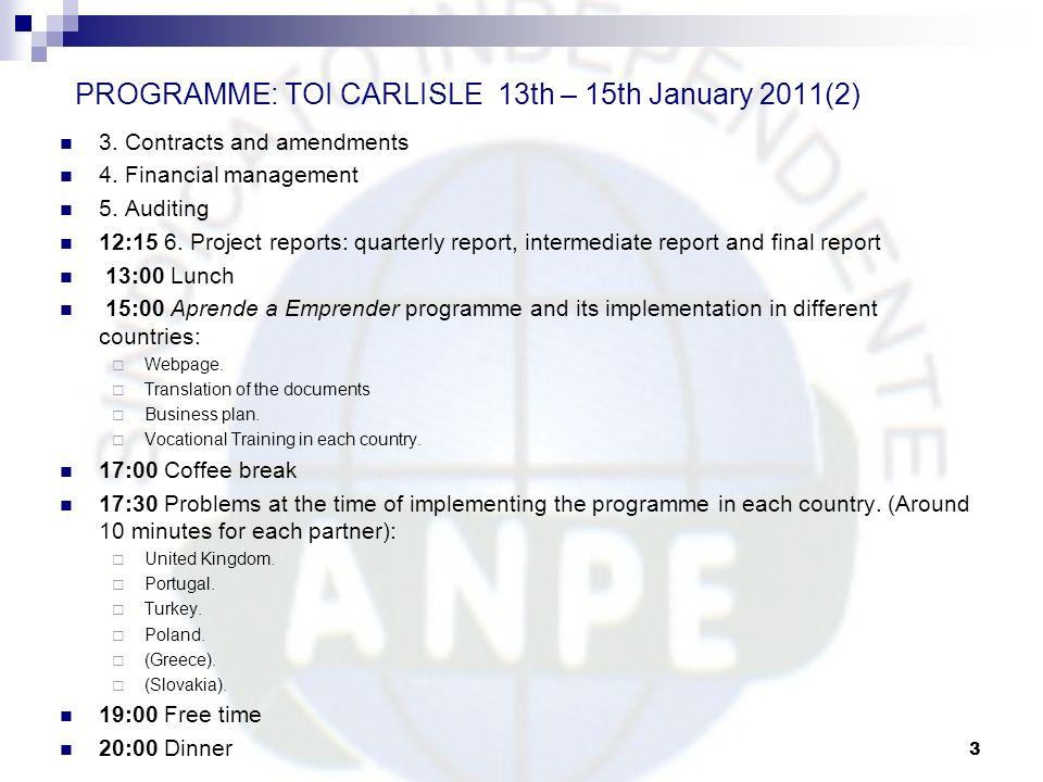 PROGRAMME: TOI CARLISLE 13th – 15th January 2011(2)