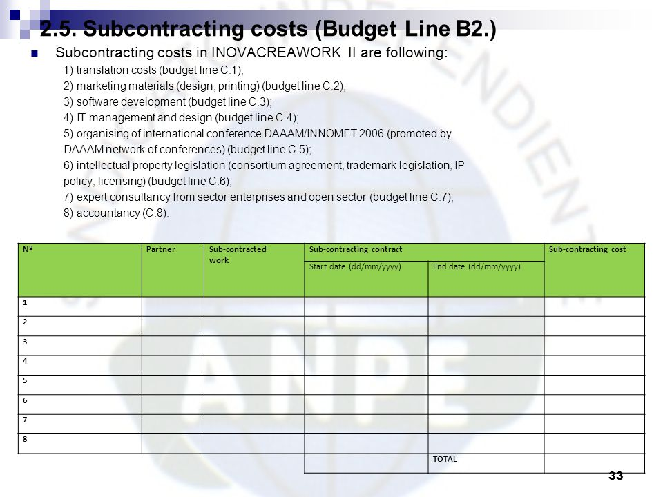 2.5. Subcontracting costs (Budget Line B2.)