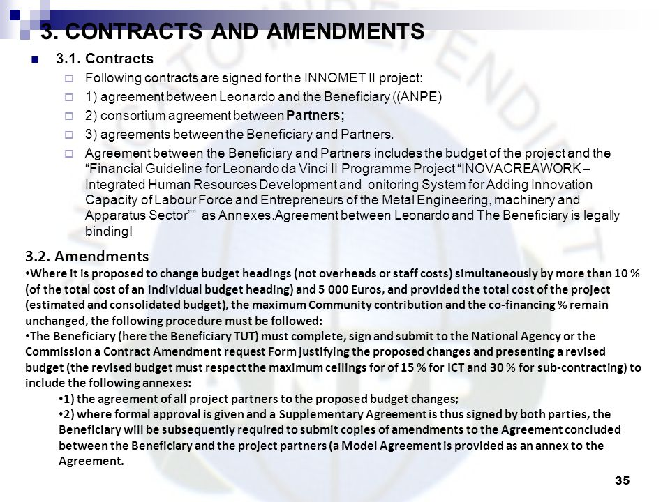 3. CONTRACTS AND AMENDMENTS