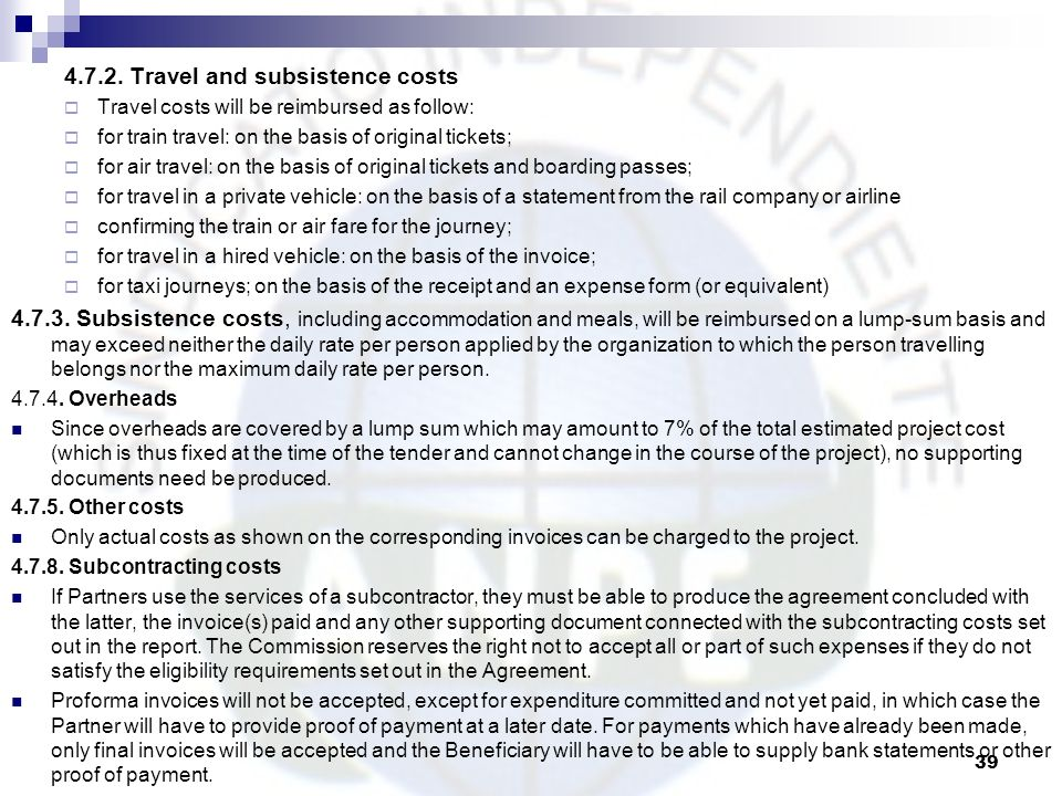 4.7.2. Travel and subsistence costs
