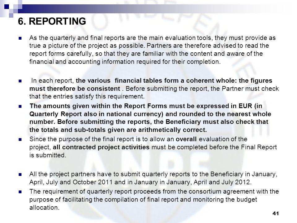 6. REPORTING