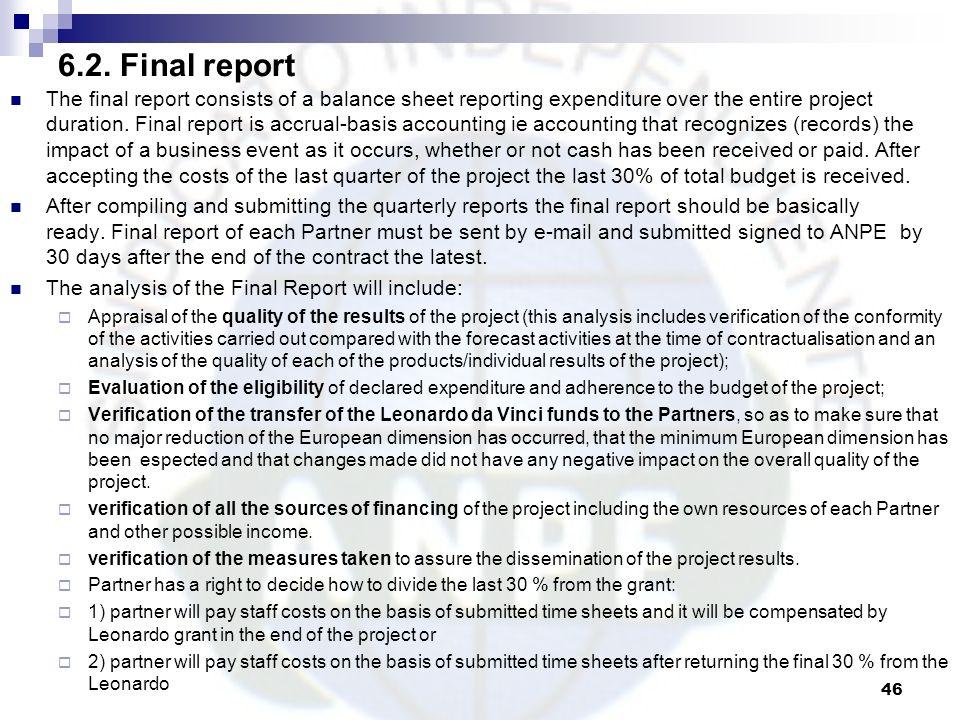 6.2. Final report