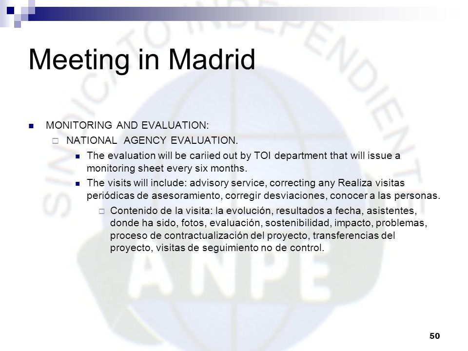 Meeting in Madrid MONITORING AND EVALUATION: