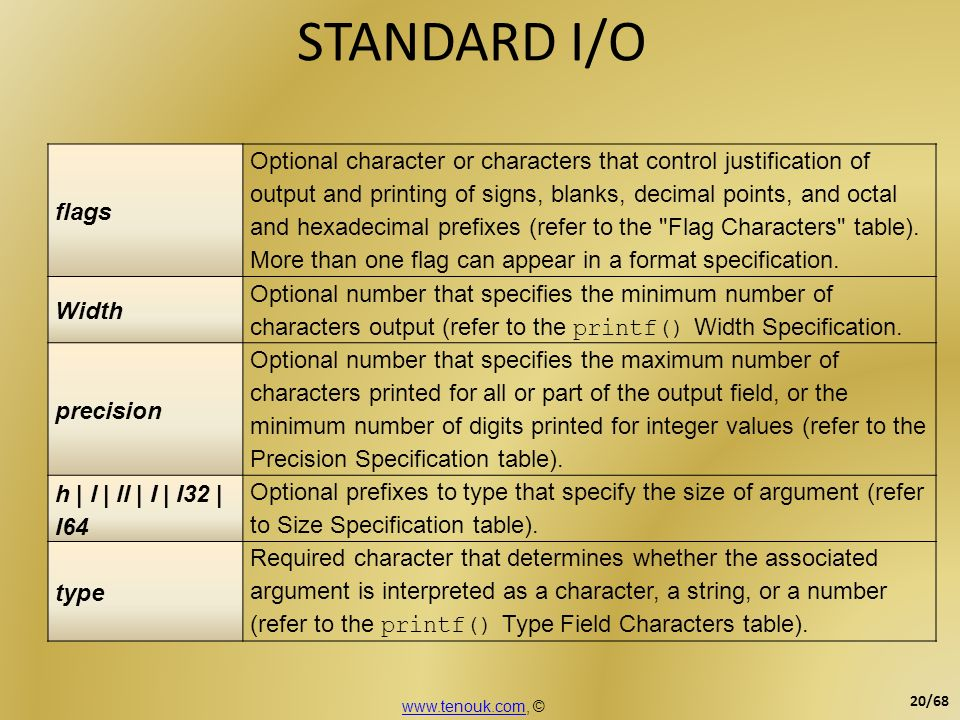 STANDARD I/O flags.