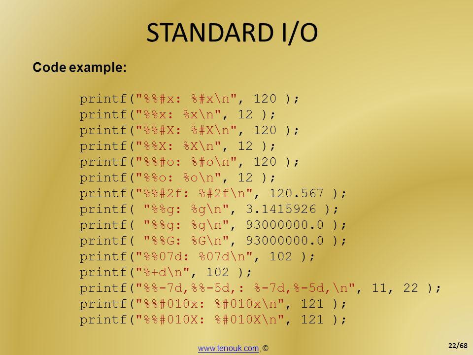 STANDARD I/O Code example: printf( %%#x: %#x\n , 120 );