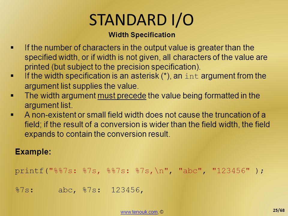 STANDARD I/O Width Specification.