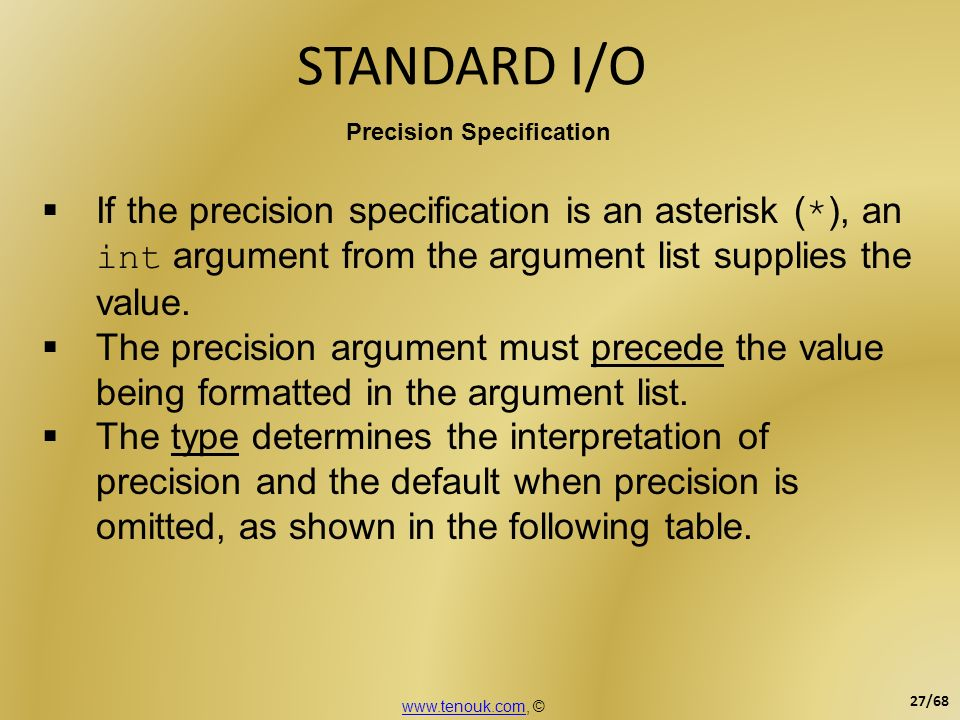 STANDARD I/O Precision Specification. If the precision specification is an asterisk (*), an int argument from the argument list supplies the value.