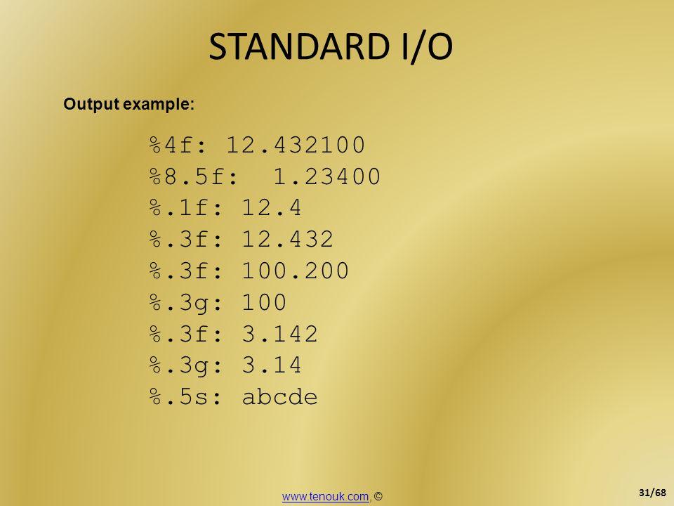 STANDARD I/O %4f: 12.432100 %8.5f: 1.23400 %.1f: 12.4 %.3f: 12.432